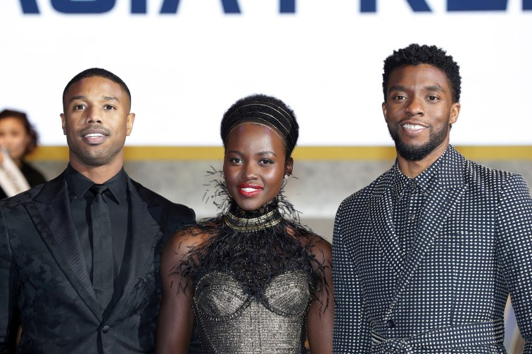SEOUL, SOUTH KOREA - FEBRUARY 05: Actor Michael B. Jordan, Lupita Nyong'o, and Chadwick Boseman(Left to Right) arrive at the red carpet of the Seoul premiere of 'Black Panther' on February 5, 2018 in Seoul, South Korea. (Photo by Han Myung-Gu/Getty Images for Disney) *** Local Caption *** Michael B. Jordan; Lupita Nyong'o; Chadwick Boseman
