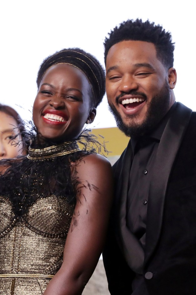 SEOUL, SOUTH KOREA - FEBRUARY 05: Actor Lupita Nyong'o and director Ryan Coogler(R) take part in the red carpet event for the Seoul premiere of 'Black Panther' on February 5, 2018 in Seoul, South Korea. (Photo by Han Myung-Gu/Getty Images for Disney) *** Local Caption *** Lupita Nyong'o; Ryan Coogler