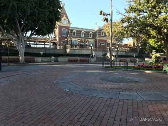 Disneyland Town Square Bricks With Walls Down in Spring-2