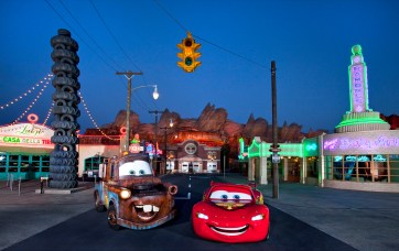 """MEET LIGHTNING MCQUEEN AND MATER IN CARS LAND -- Coming to Disney California Adventure park June 15, 2012, Cars Land features three immersive family attractions showcasing characters and settings from the Disney-Pixar film, """"Cars,"""" including one of the largest and most elaborate themed environments ever created for a Disney park. McQueen and Mater will be greeting park guests daily outside the Cozy Cone Motel on Route 66. (Paul Hiffmeyer/Disneyland Resort)"""