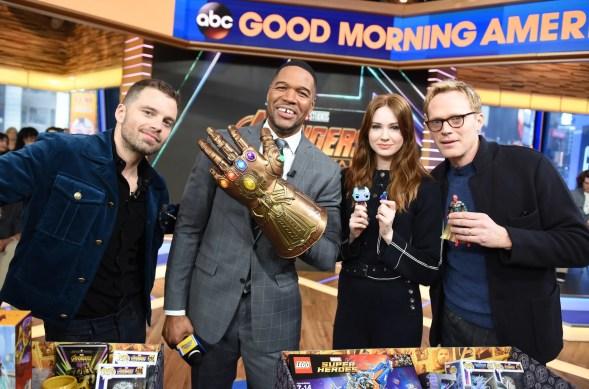 Marvel Studios' Avengers Infinity War talent Sebastian Stan, Karen Gillan, Paul Bettany and Michael Strahan with new toys