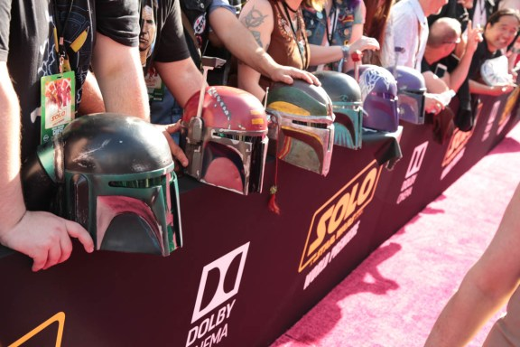 """Fans await the world premiere of """"Solo: A Star Wars Story"""" in Hollywood on May 10, 2018. (Photo: Alex J. Berliner/ABImages)"""