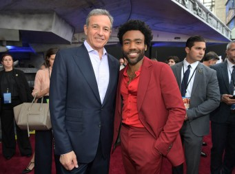 HOLLYWOOD, CA - MAY 10: The Walt Disney Company Chairman and CEO Bob Iger (L) and actor Donald Glover attend the world premiere of ìSolo: A Star Wars Storyî in Hollywood on May 10, 2018. (Photo by Charley Gallay/Getty Images for Disney) *** Local Caption *** Donald Glover; Bob Iger