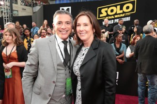 "Ricky Strauss and Kathleen Kennedy attend the world premiere of ""Solo: A Star Wars Story"" in Hollywood on May 10, 2018. (Photo: Alex J. Berliner/ABImages)"