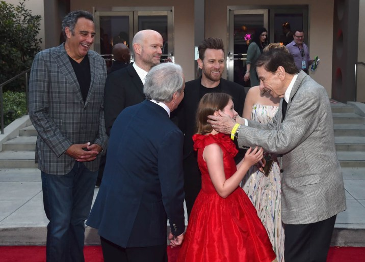 BURBANK, CA - JULY 30: (L-R) Actor Brad Garrett, Director Marc Forster, actors Jim Cummings, Ewan McGregor, Bronte Carmichael and Songwriter Richard M. Sherman attend the world premiere of Disney's 'Christopher Robin' at the Main Theater on the Walt Disney Studios lot in Burbank, CA on July 30, 2018. (Photo by Alberto E. Rodriguez/Getty Images for Disney) *** Local Caption *** Brad Garrett; Marc Forster; Jim Cummings; Ewan McGregor; Bronte Carmichael; Richard M. Sherman