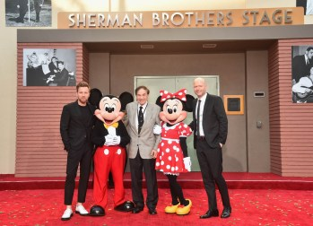 BURBANK, CA - JULY 30: (L-R) Actor Ewan McGregor, Mickey Mouse, Songwriter Richard M. Sherman, Minnie Mouse and Director Marc Forster attend the dedication and re-naming of the historic Orchestra Stage, now the Sherman Brothers Stage A, on the Disney Burbank lot prior to the world premiere of Disney's 'Christopher Robin' at the studio's Main Theater, on July 30, 2018. (Photo by Alberto E. Rodriguez/Getty Images for Disney) *** Local Caption *** Ewan McGregor; Minnie Mouse; Mickey Mouse; Richard M. Sherman; Marc Forster
