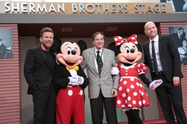 """Ewan McGregor, Mickey Mouse, Richard M. Sherman, Minnie Mouse and Director Marc Forster pose together at the dedication and re-naming of the historic Orchestra Stage, now the Sherman Brothers Stage A, on the Disney Burbank lot prior to the world premiere of Disney's """"Christopher Robin"""" at the studio's Main Theater, on July 30, 2018 in Burbank, CA (Photo: Alex J. Berliner/ABImages)"""