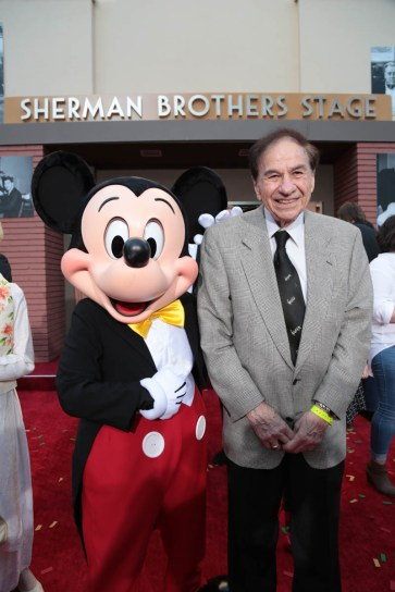 """Mickey Mouse and Richard M. Sherman pose together at the dedication and re-naming of the historic Orchestra Stage, now the Sherman Brothers Stage A, on the Disney Burbank lot prior to the world premiere of Disney's """"Christopher Robin"""" at the studio's Main Theater, on July 30, 2018 in Burbank, CA (Photo: Alex J. Berliner/ABImages)"""