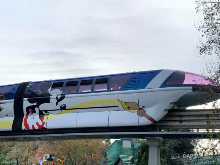 Blue Monorail With Mickey Mouse Paint Job at Disneyland-1