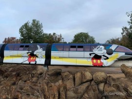 Blue Monorail With Mickey Mouse Paint Job at Disneyland-10