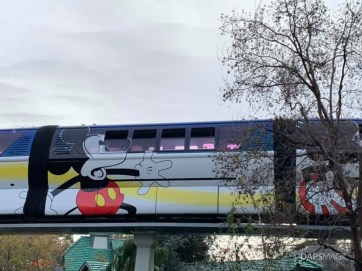 Blue Monorail With Mickey Mouse Paint Job at Disneyland-2
