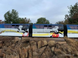 Blue Monorail With Mickey Mouse Paint Job at Disneyland-7