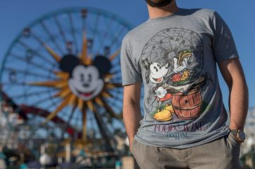 During the Disney California Adventure Food & Wine Festival, from March 1 to April 23, 2019, guests will find an array of merchandise options to spice up their culinary journey, including this festival-themed T-shirt. During the festival, guests can explore California-inspired cuisine and beverages, plus live entertainment, family-friendly seminars and cooking demonstrations. (Joshua Sudock/Disneyland Resort)