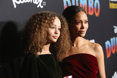 """LOS ANGELES, CA - MARCH 11: Actors Nico Parker (L) and Thandie Newton attend the World Premiere of Disney's """"Dumbo"""" at the El Capitan Theatre on March 11, 2019 in Los Angeles, California. (Photo by Jesse Grant/Getty Images for Disney) *** Local Caption *** Thandie Newton; Nico Parker"""