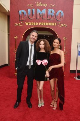 """LOS ANGELES, CA - MARCH 11: (L-R) Ol Parker, actors Nico Parker and Thandie Newton attend the World Premiere of Disney's """"Dumbo"""" at the El Capitan Theatre on March 11, 2019 in Los Angeles, California. (Photo by Alberto E. Rodriguez/Getty Images for Disney) *** Local Caption *** Ol Parker; Nico Parker; Thandie Newton"""