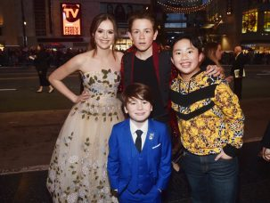 """LOS ANGELES, CA - MARCH 11: (L-R) Olivia Sanabia, Dakota Lotus, Albert Tsai and Paxton Booth (bottom) attend the World Premiere of Disney's """"Dumbo"""" at the El Capitan Theatre on March 11, 2019 in Los Angeles, California. (Photo by Alberto E. Rodriguez/Getty Images for Disney) *** Local Caption *** Albert Tsai; Olivia Sanabia; Dakota Lotus; Paxton Booth"""