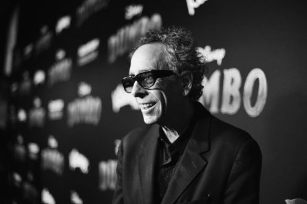 """LOS ANGELES, CA - MARCH 11: (EDITORS NOTE: Image has been shot in black and white. No color version available) Director/executive producer Tim Burton attends the World Premiere of Disney's """"Dumbo"""" at the El Capitan Theatre on March 11, 2019 in Los Angeles, California. (Photo by Charley Gallay/Getty Images for Disney) *** Local Caption *** Tim Burton"""