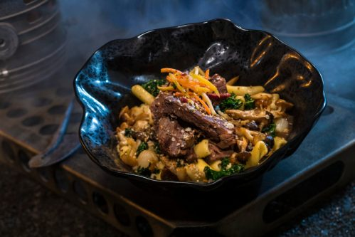 Innovative and creative eats from around the galaxy will be available at Star Wars: GalaxyÕs Edge when it opens May 31, 2019, at Disneyland Park in Anaheim, Calif., and Aug. 29, 2019, at Disney's Hollywood Studios in Lake Buena Vista, Fla. The Braised Shaak Roast, found at Docking Bay 7 Food and Cargo inside Star Wars: GalaxyÕs Edge, features beef pot roast with cavatelli pasta, kale and mushrooms. (David Roark/Disney Parks)