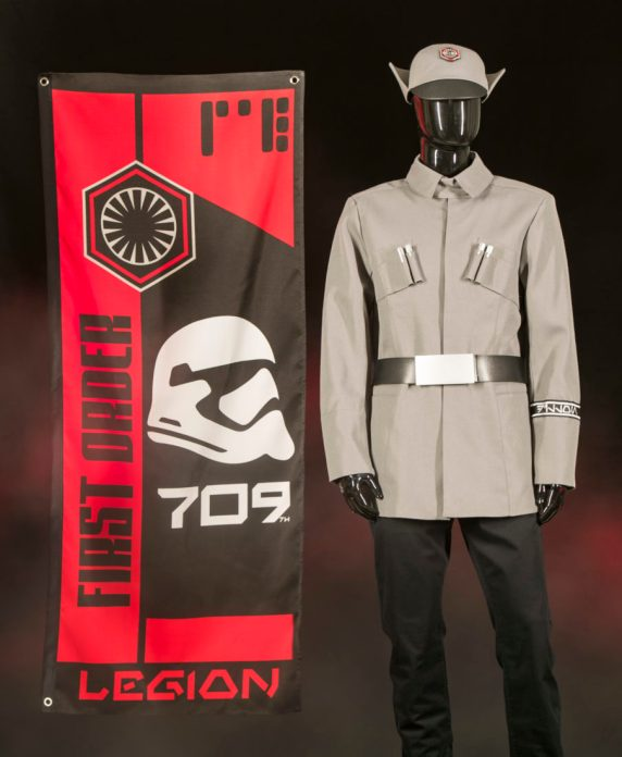 At Black Spire Outpost in Star Wars: GalaxyÕs Edge, guests wanting to showcase their allegiance to the First Order will be able to choose among the gear and supplies that the 709th Legion brought with them to First Order Cargo. Star Wars: GalaxyÕs Edge opens May 31, 2019, at Disneyland Resort in California and Aug. 29, 2019, at Walt Disney World Resort in Florida. (David Roark/Disney Parks)