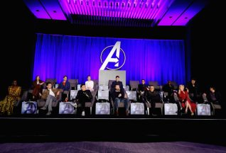 """LOS ANGELES, CA - APRIL 07: (back L-R) Karen Gillan, Paul Rudd, Scarlett Johansson, President of Marvel Studios/Producer Kevin Feige, Robert Downey Jr., Don Cheadle and Chris Hemsworth, (front L-R) Danai Gurira, Jeremy Renner, Director Anthony Russo, Chris Evans, Director Joe Russo, Brie Larson and Mark Ruffalo speak onstage during Marvel Studios' """"Avengers: Endgame"""" Global Junket Press Conference at the InterContinental Los Angeles Downtown on April 7, 2019 in Los Angeles, California. (Photo by Alberto E. Rodriguez/Getty Images for Disney) *** Local Caption *** Karen Gillan; Paul Rudd; Scarlett Johansson; Kevin Feige; Robert Downey Jr.; Don Cheadle; Chris Hemsworth; Danai Gurira; Jeremy Renner; Anthony Russo; Joe Russo; Chris Evans; Brie Larson; Mark Ruffalo"""