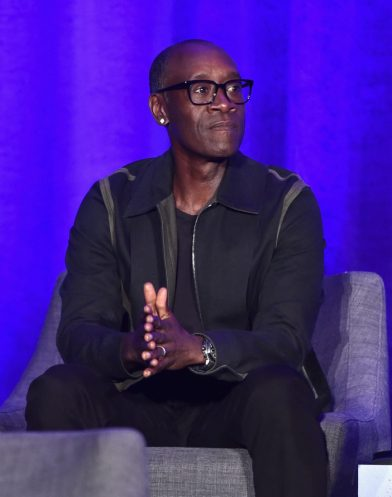 """LOS ANGELES, CA - APRIL 07: Don Cheadle speaks onstage during Marvel Studios' """"Avengers: Endgame"""" Global Junket Press Conference at the InterContinental Los Angeles Downtown on April 7, 2019 in Los Angeles, California. (Photo by Alberto E. Rodriguez/Getty Images for Disney) *** Local Caption *** Don Cheadle"""