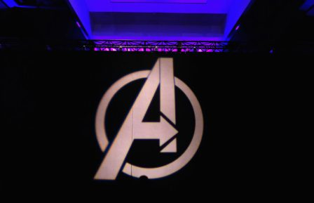 """LOS ANGELES, CA - APRIL 07: A view of the atmosphere onstage during Marvel Studios' """"Avengers: Endgame"""" Global Junket Press Conference at the InterContinental Los Angeles Downtown on April 7, 2019 in Los Angeles, California. (Photo by Alberto E. Rodriguez/Getty Images for Disney)"""