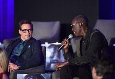"""LOS ANGELES, CA - APRIL 07: Robert Downey Jr. (L) and Don Cheadle speak onstage during Marvel Studios' """"Avengers: Endgame"""" Global Junket Press Conference at the InterContinental Los Angeles Downtown on April 7, 2019 in Los Angeles, California. (Photo by Alberto E. Rodriguez/Getty Images for Disney) *** Local Caption *** Robert Downey Jr.; Don Cheadle"""