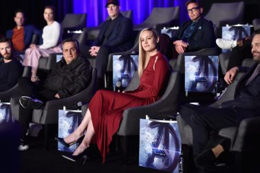 """LOS ANGELES, CA - APRIL 07: (front) Chris Evans, Director Joe Russo, Brie Larson and Mark Ruffalo, (back) Paul Rudd, Scarlett Johansson, President of Marvel Studios/Producer Kevin Feige and Robert Downey Jr. speak onstage during Marvel Studios' """"Avengers: Endgame"""" Global Junket Press Conference at the InterContinental Los Angeles Downtown on April 7, 2019 in Los Angeles, California. (Photo by Alberto E. Rodriguez/Getty Images for Disney) *** Local Caption *** Chris Evans; Joe Russo; Brie Larson; Mark Ruffalo; Paul Rudd; Scarlett Johansson; Kevin Feige; Robert Downey Jr."""