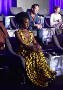 """LOS ANGELES, CA - APRIL 07: (L-R) Danai Gurira, Paul Rudd and Scarlett Johansson speak onstage during Marvel Studios' """"Avengers: Endgame"""" Global Junket Press Conference at the InterContinental Los Angeles Downtown on April 7, 2019 in Los Angeles, California. (Photo by Alberto E. Rodriguez/Getty Images for Disney) *** Local Caption *** Danai Gurira; Paul Rudd; Scarlett Johansson"""