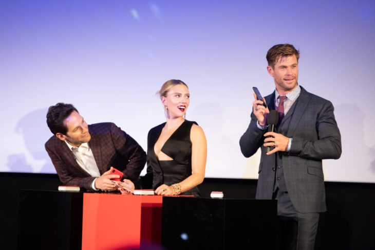 (L-R) Paul Rudd, Scarlett Johansson and Chris Hemsworth attend the UK Fan Event to celebrate the release of Marvel Studios' 'Avengers: Endgame' at Picturehouse Central on April 10, 2019 in London, England.