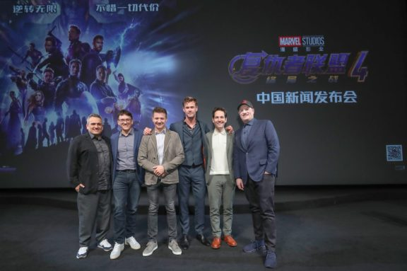 Global Tour Shanghai, China Press Conference L to R: Joe Russo, Anthony Russo, Jeremy Renner, Chris Hemsworth, Paul Rudd and Kevin Feige