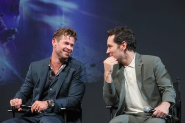 Global Tour Shanghai, China Press Conference L to R: Chris Hemsworth and Paul Rudd