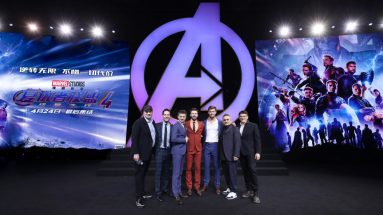 Jeremy Renner, Paul Rudd, Joe Russo, Anthony Russo and Kevin Feige Onstage at the Avengers Endgame China Fan Event