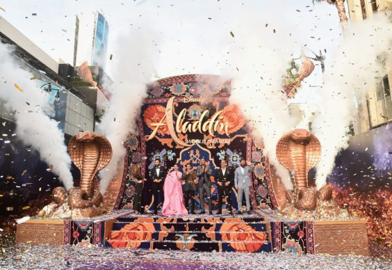 "LOS ANGELES, CA - MAY 21: (L-R) Actors Nasim Pedrad, Marwan Kenzari, Naomi Scott, Mena Massoud, Will Smith, Navid Negahban and Numan Acar attend the World Premiere of Disney's ""Aladdin"" at the El Capitan Theater in Hollywood CA on May 21, 2019, in the culmination of the film's Magic Carpet World Tour with stops in Paris, London, Berlin, Tokyo, Mexico City and Amman, Jordan. (Photo by Alberto E. Rodriguez/Getty Images for Disney) *** Local Caption *** Nasim Pedrad; Marwan Kenzari; Naomi Scott; Mena Massoud; Will Smith; Navid Negahban; Numan Acar"