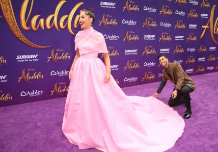 "LOS ANGELES, CA - MAY 21: Naomi Scott (L) and Mena Massoud attend the World Premiere of Disney's ""Aladdin"" at the El Capitan Theater in Hollywood CA on May 21, 2019, in the culmination of the film's Magic Carpet World Tour with stops in Paris, London, Berlin, Tokyo, Mexico City and Amman, Jordan. (Photo by Jesse Grant/Getty Images for Disney) *** Local Caption *** Naomi Scott; Mena Massoud"