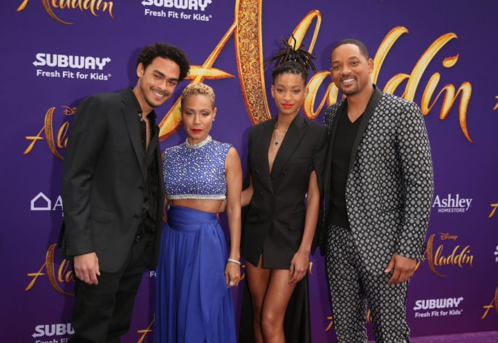 "LOS ANGELES, CA - MAY 21: (L-R) Trey Smith, Jada Pinkett Smith, Willow Smith and Will Smith attend the World Premiere of Disney's ""Aladdin"" at the El Capitan Theater in Hollywood CA on May 21, 2019, in the culmination of the film's Magic Carpet World Tour with stops in Paris, London, Berlin, Tokyo, Mexico City and Amman, Jordan. (Photo by Jesse Grant/Getty Images for Disney) *** Local Caption *** Jada Pinkett Smith; Trey Smith; Willow Smith; Will Smith"
