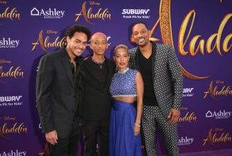 "LOS ANGELES, CA - MAY 21: (L-R) Trey Smith, Jaden Smith, Jada Pinkett Smith and Will Smith attend the World Premiere of Disney's ""Aladdin"" at the El Capitan Theater in Hollywood CA on May 21, 2019, in the culmination of the film's Magic Carpet World Tour with stops in Paris, London, Berlin, Tokyo, Mexico City and Amman, Jordan. (Photo by Jesse Grant/Getty Images for Disney) *** Local Caption *** Trey Smith; Will Smith; Jaden Smith; Jada Pinkett Smith"