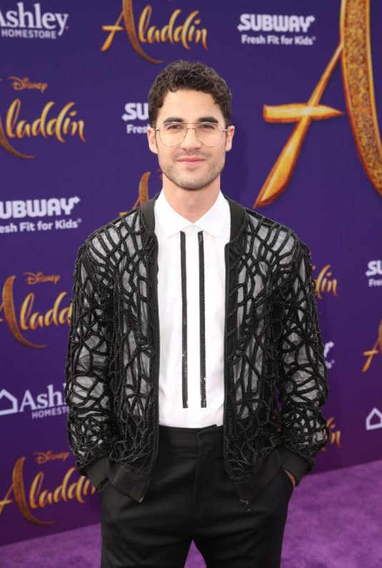 "LOS ANGELES, CA - MAY 21: Darren Criss attends the World Premiere of Disney's ""Aladdin"" at the El Capitan Theater in Hollywood CA on May 21, 2019, in the culmination of the film's Magic Carpet World Tour with stops in Paris, London, Berlin, Tokyo, Mexico City and Amman, Jordan. (Photo by Jesse Grant/Getty Images for Disney) *** Local Caption *** Darren Criss"