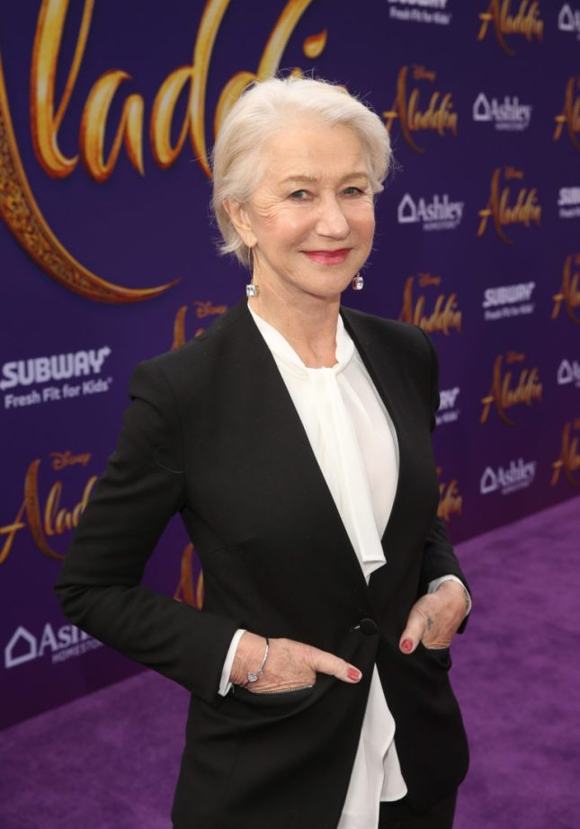 "LOS ANGELES, CA - MAY 21: Helen Mirren attends the World Premiere of Disney's ""Aladdin"" at the El Capitan Theater in Hollywood CA on May 21, 2019, in the culmination of the film's Magic Carpet World Tour with stops in Paris, London, Berlin, Tokyo, Mexico City and Amman, Jordan. (Photo by Jesse Grant/Getty Images for Disney) *** Local Caption *** Helen Mirren"