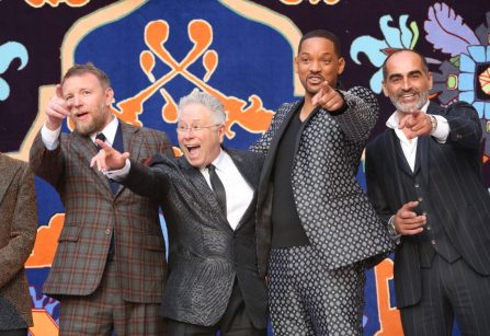 "LOS ANGELES, CA - MAY 21: (L-R) Director Guy Ritchie, Composer Alan Menken, Will Smith and Navid Negahban attend the World Premiere of Disney's ""Aladdin"" at the El Capitan Theater in Hollywood CA on May 21, 2019, in the culmination of the film's Magic Carpet World Tour with stops in Paris, London, Berlin, Tokyo, Mexico City and Amman, Jordan. (Photo by Jesse Grant/Getty Images for Disney) *** Local Caption *** Guy Ritchie; Alan Menken; Will Smith; Navid Negahban"