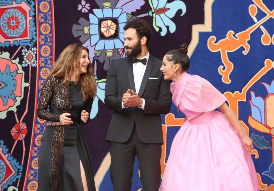 "LOS ANGELES, CA - MAY 21: (L-R) Actors Nasim Pedrad, Marwan Kenzari and Naomi Scott attend the World Premiere of Disney's ""Aladdin"" at the El Capitan Theater in Hollywood CA on May 21, 2019, in the culmination of the film's Magic Carpet World Tour with stops in Paris, London, Berlin, Tokyo, Mexico City and Amman, Jordan. (Photo by Jesse Grant/Getty Images for Disney) *** Local Caption *** Nasim Pedrad; Marwan Kenzari; Naomi Scott"
