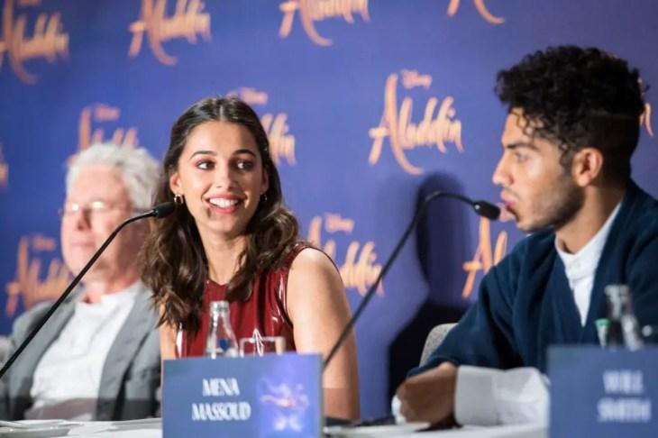 "(L-R) Alan Menken, Naomi Scott and Mena Massoud attend the ""Aladdin"" press conference on May 11, 2019 in Berlin, Germany. .© Disney/Folioscope/Hanna Boussouar"