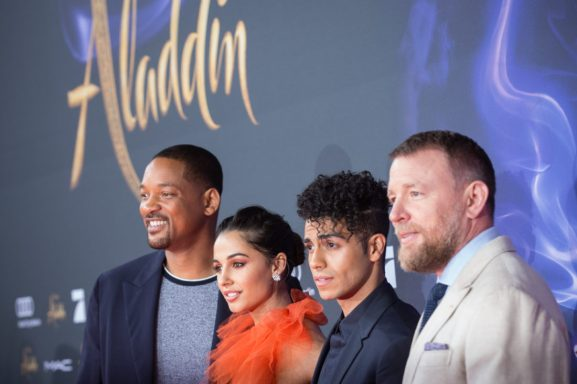 "(L-R) Will Smith, Naomi Scott, Mena Massoud and Guy Ritchie attend the ""Aladdin"" gala screening on May 11, 2019 in Berlin, Germany. .© Disney/Folioscope/Hanna Boussouar"