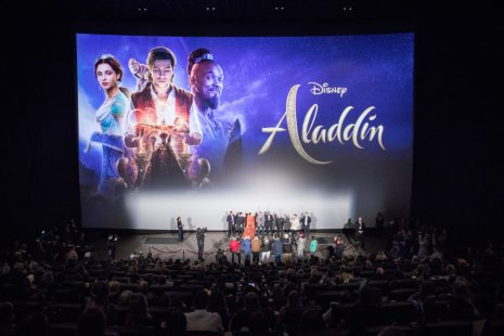 "Navid Negahban, Alan Menken, Mena Massoud, Will Smith, Naomi Scott, Numan Acar and Guy Ritchie attend the ""Aladdin"" gala screening on May 11, 2019 in Berlin, Germany. .© Disney/Folioscope/Hanna Boussouar"