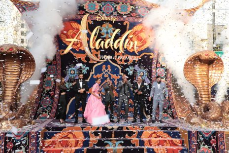 Nasim Pedrad, Marwan Kenzari, Naomi Scott, Mena Massoud, Will Smith, Navid Negahban and Numan Acar attend the World Premiere of DisneyÕs Aladdin at the El Capitan Theater in Hollywood, CA on Tuesday, May 21, 2019, in the culmination of the filmÕs Magic Carpet World Tour with stops in Paris, London, Berlin, Tokyo, Mexico City and Amman, Jordan. (photo: Alex J. Berliner/ABImages)