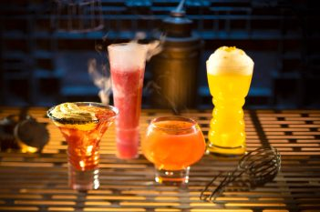 Innovative and creative drinks from around the galaxy will be available at Star Wars: GalaxyÕs Edge when it opens May 31, 2019, at Disneyland Park in Anaheim, Calif., and Aug. 29, 2019, at Disney's Hollywood Studios in Lake Buena Vista, Fla. From left to right, alcoholic beverages: The Outer Rim, Bespin Fizz, Yub Nub, and Fuzzy Tauntaun can be found at OgaÕs Cantina inside Star Wars: GalaxyÕs Edge. (Kent Phillips/Disney Parks)