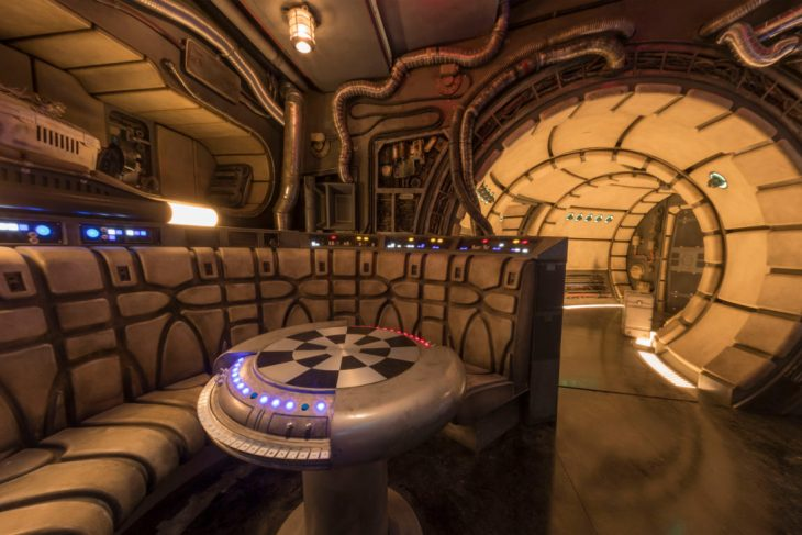 The famous main hold lounge is one of several areas Disney guests will discover inside Millennium Falcon: Smugglers Run before taking the controls in one of three unique and critical roles aboard the fastest ship in the galaxy at Star Wars: GalaxyÕs Edge at Disneyland Park in Anaheim, California and at Disney's Hollywood Studios in Lake Buena Vista, Florida. (Joshua Sudock/Disney Parks)