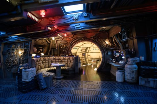 The famous main hold lounge is one of several areas guests will discover inside Millennium Falcon: Smugglers Run before taking the controls in one of three unique and critical roles aboard the fastest ship in the galaxy at Star Wars: GalaxyÕs Edge at Disneyland Park in Anaheim, California, and at Disney's Hollywood Studios in Lake Buena Vista, Florida. (Richard Harbaugh/Disney Parks)