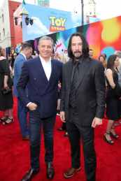 HOLLYWOOD, CA - JUNE 11: (L-R) The Walt Disney Company Chairman and CEO Bob Iger and Keanu Reeves attend the world premiere of Disney and Pixar's TOY STORY 4 at the El Capitan Theatre in Hollywood, CA on Tuesday, June 11, 2019. (Photo by Rich Polk/Getty Images for Disney) *** Local Caption *** Keanu Reeves; Bob Iger