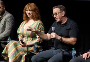 ORLANDO, FLORIDA - JUNE 08: Christina Hendricks and Tim Allen attend the Global Press Junket for Pixar's TOY STORY 4 at Disney's Hollywood Studios on June 08, 2019 in Orlando, Florida. (Photo by John Parra/Getty Images for Disney)